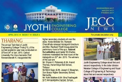 newsletter jyothi engineering college is a naac accredited college